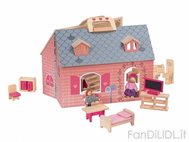 Casa delle bambole fattoria per bambini fan di lidl for Planimetrie semplici della casetta di legno