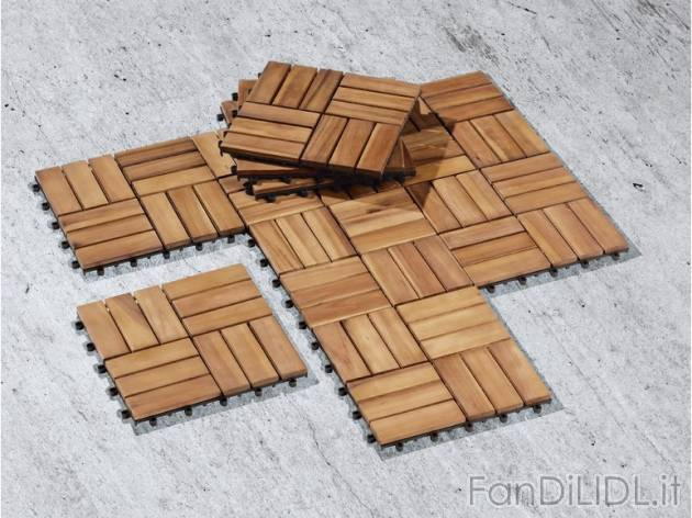 piastrelle in legno giardino fan di lidl