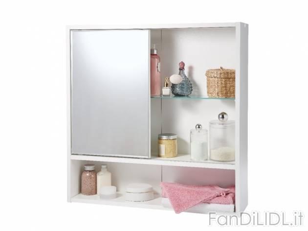 Armadietto con specchio bagno accessori interno fan - Specchio parabolico prezzo ...