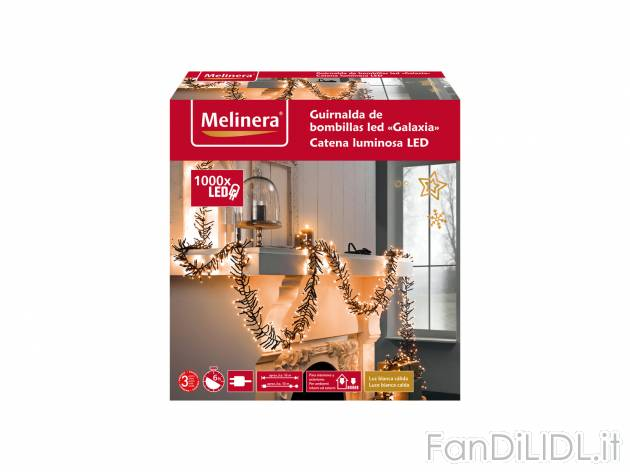 Catena luminosa 1000 LED Melinera, prezzo 27.99 €  - Per ambienti interni ...